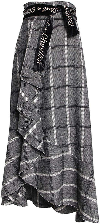 Nieloya Embroidery Letter Ruffles Plaid Skirt High Waist Irregular Long Skirt