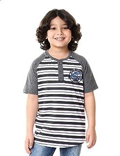 Andora Striped Henley Neck Short Sleeves T-shirt for Boys