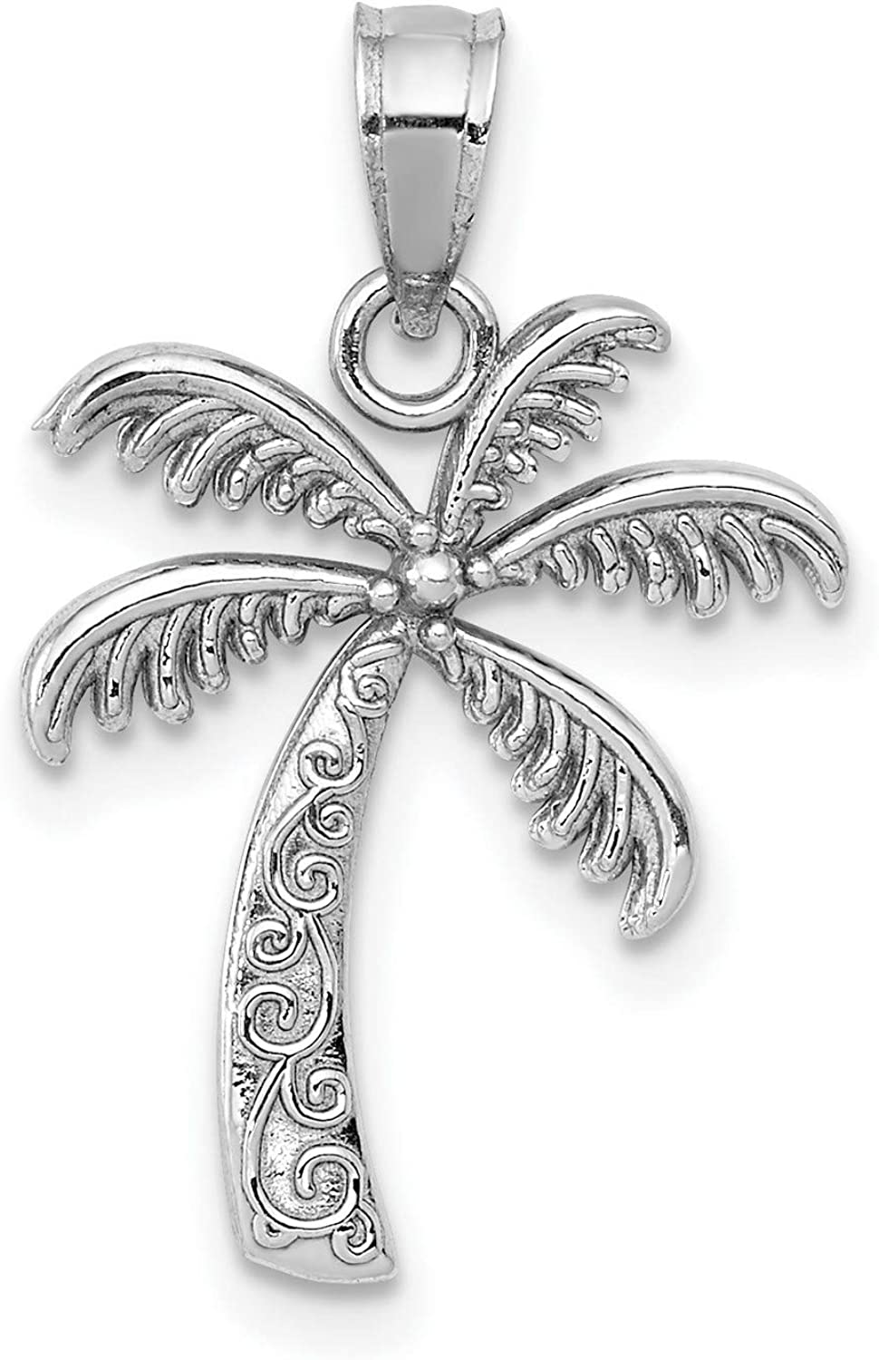 14k White Gold Polished Palm Tree Discount mail order 14 mm 17 x mart Pendant