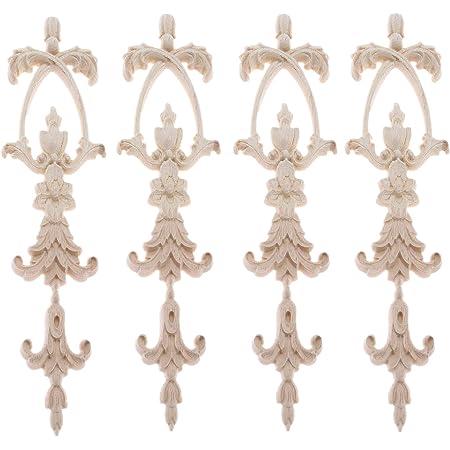 "MUXSAM 4Pcs Long Vertical Corner Onlay Applique Frame Decoration Carved European Solid Wood Flower Pattern (A-25x6cm/9.84""x2.36"")"