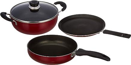 Amazon Brand - Solimo 3-Piece Aluminium Non-Stick Cookware Set - Fry Pan, Kadhai & Tawa (Induction And Gas Compatible) (Ma...