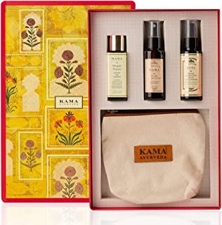 Best Of Kama Ayurveda Gift Box (Bringadi Hair Treatment Oil + Pure Rose Water, Rose & Jasmine Face Cleanser + Travel Pouch)