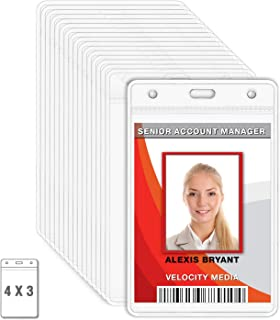 MIFFLIN Plastic Vertical Card Holder (4x3 Inch, Clear, Bulk 10 Pack) Quick Load No Zipper Name ID Badge