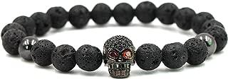 Halin Dre Hip Hop Alloy Crystal Skull Natural Black Lava Stone Beads Stretch Bracelet Bangle