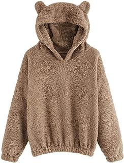 Sunmoot Teddy Bear Hoodie Coat for Womens Long Sleeve Fleece Sweatshirt Warm Bear Shape Fuzzy Hoodie Sweater Pullover