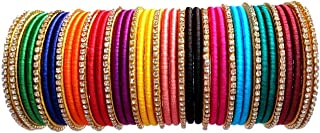 GOELX Silk Thread Bangles Handcrafted Stylish Elegant Multicolor with Rhinestone Embellishments (Set of 39 Bangles) (Multicolor, 2.6)