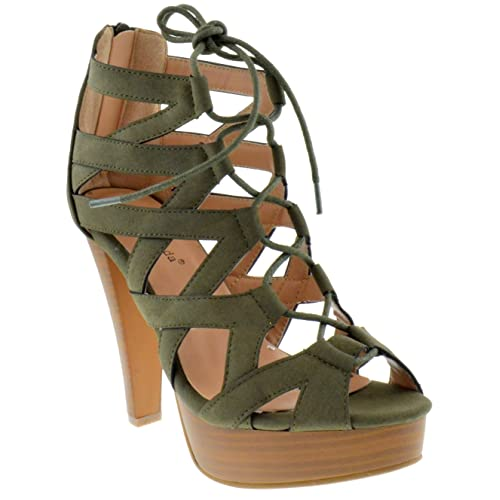 7d3968b7804 Top Moda Table 8 Peep Toe High Heel Lace up Strappy Pumps