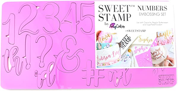 Sweet Stamp By AmyCakes Plastic Elegant Numbers And Symbols For Embossing Cakes