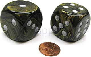 Chessex Leaf 30mm Large D6 Dice, 2 Pieces - Black Gold with Silver Pips