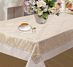 Violet Linen Riviera Swirl Pattern, Satin Border Seats 4 to 6 people, Polyester Fabric Jacquard Embroidered, Rectangle, Ta...
