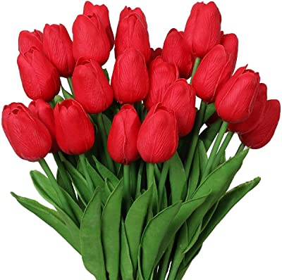 SATYAM KRAFT Artificial Foam Flowers Tulip Sticks for Home Decoration and Craft (Red, 10 Pieces)