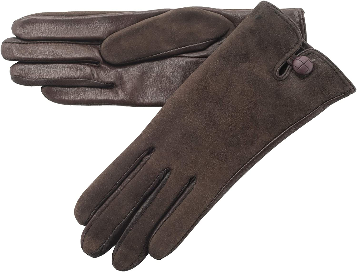 Lambland Ladies Leather Palm Lambskin Back Gloves in Brown Size XLarge
