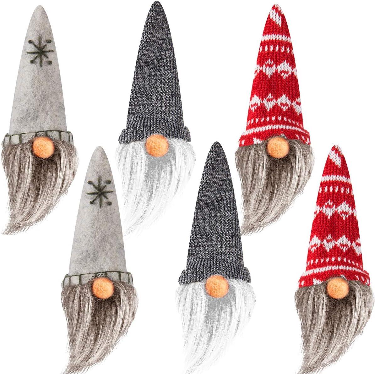 Set of 6 Handmade Swedish Tomte- Christmas Elf Gnome Scandinavian Santa Gnome Plush Christmas Tree Hanging Ornament Figurines for Home Holiday Decorations Xmas Present