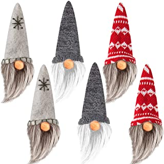 Best Set of 6 Handmade Swedish Tomte- Christmas Elf Gnome Scandinavian Santa Gnome Plush Christmas Tree Hanging Ornament Figurines for Home Holiday Decorations Xmas Present Review