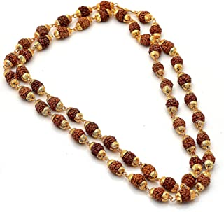 Shree Shyam Gems & Jewellery Brown Gold Plated Shiva God Rudraksha 24 Inches Mala Long Chain for Men and Boys