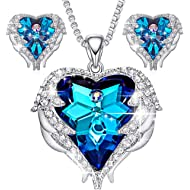 CDE Angel Wing Heart Necklaces and Earrings for Mothers Day Embellished with Crystals from...