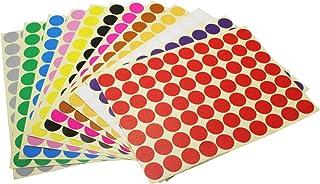 Okrągłe naklejki w kropki, 19 mm, 12 różnych kolorów, 12 arkuszy