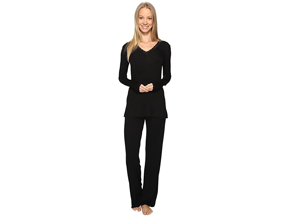 Natori Feathers Long Sleeve PJ (Black) Women