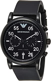 Emporio Armani Men's Chronograph Stainless Steel Quartz Watch with Leather Calfskin Strap, Black, 22 (Model: AR11133)