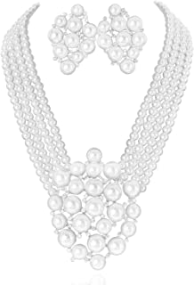 Simulated Floral Pearl Blossom Multi Strand Necklace and Earring Set, Clip On Earring 2 Set