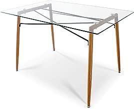 Mesa de comedor, cocina o escritorio de cristal templado, estilo nórdico con modernas patas de acero impresas en madera. Dimensiones: 120x80x75cm.