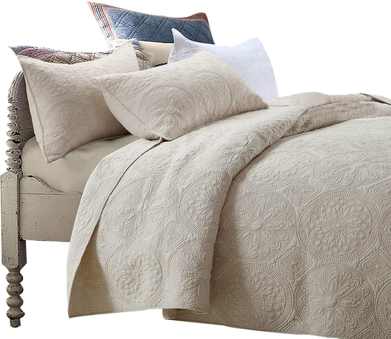 Brandream Luxury Beige Bedding Set Q Bedspread Oversized Super-cheap 3 Piece Ranking TOP18