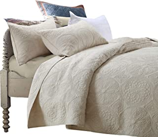 Brandream Luxury Beige Bedding Set 3 Piece Oversized Bedspread Quilt Set Queen Size