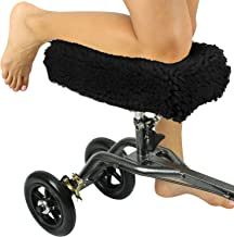 Vive Mobility Knee Walker Pad Cover - Plush Synthetic Faux Sheepskin Scooter Cushion - Accessory for Knee Roller - Leg Cart Improves Comfort During Injury (Black)