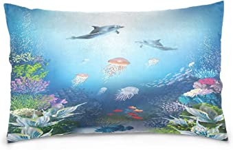 Underwater World Dolphin and Jellyfish Polyester Pillow Case,Cover with Zipper Pillowcase Twice Sides Printing Size 20x30 Inch,for Bedroom Living Room