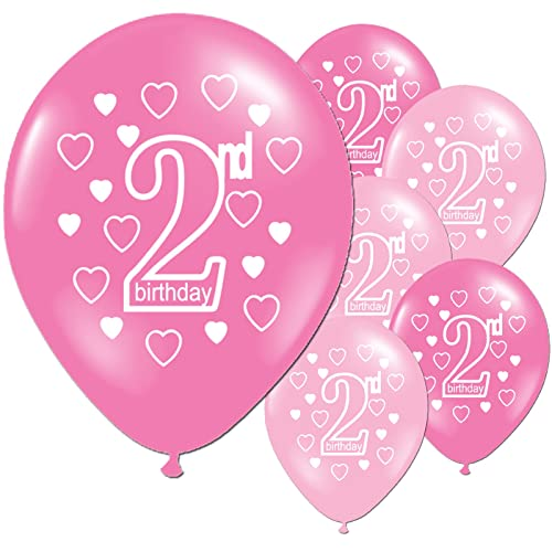 10 Pink Girls 2nd Birthday Printed Pearlised Party Balloons