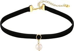 Chan Luu - Velvet Choker Necklace with Single Fresh Water Pearl