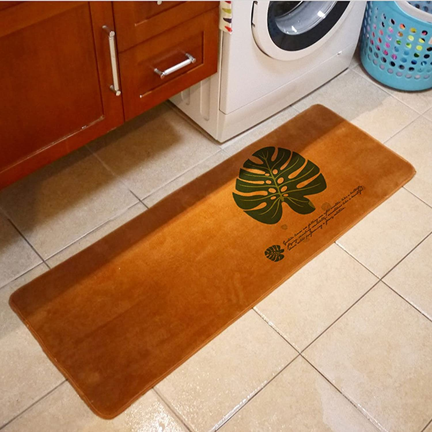SUN-Shine Durable Home and Kitchen Rug Runners with Non-Slip Rubber Backing Indoor Doormats Floor Mat Carpet, Tropical Palm Leaf Khaki