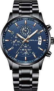 Men's Fashion Staonless Steel Watches Date Waterprood Chronograph Wristwatches,Stainsteel Steel Band Waterproof Watch