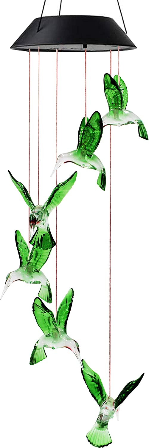 X-PREK Solar Wind Chimes for Outside,Color-Changing Hanging Mobile Green Hummingbird Wind Chime Outdoor Clearance Waterproof LED Solar Light Porch Deck Garden Patio Decor