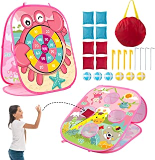 3 in 1 Bean Bag Toss Game Set for Kids, Outside Toys for Kids Toddlers Ages 3-5 4-8 4-7, Collapsible Cornhole and Dart Board with 8 Bean Bags, Crab & Turtle Themed, Birthday Gift for Boys Girls