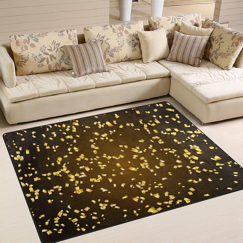golden Confetti Pattern Area Rugs 7' x 5' Door Mats Indoor Polyester Non Slip Multi Rectangle Doormat Kitchen Floor Runner Decoration for Home Bedroom Living Dining Room