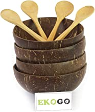 Ekogo Set of 4 Coconut Bowls with 4 Spoons | Polished With Coconut Oil | Handmade, Vegan, Natural, Eco Friendly, Reusable Bowl for Breakfast, Serving, Decoration, Party