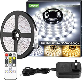Lepro LED Strip Light, 3000K-6000K Tunable White, 16.4ft Dimmable Super Bright LED Tape Lights, 300 LEDs SMD 2835, Strong 3M Adhesive, Suitable for Home, Kitchen, Under Cabinet, Bedroom