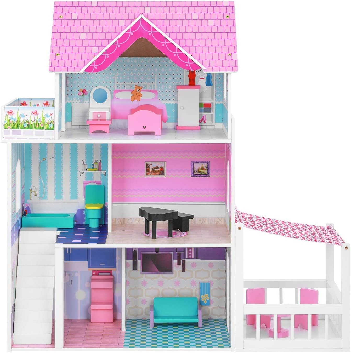 BABLE Wooden Dollhouse with Furniture Large discharge sale Littl Super beauty product restock quality top! House Toy Pieces for