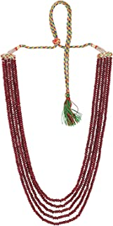 Aradhya Five Layer Maroon Ruby Colour Real Onyx Stone Necklace With Side Diamond Pendant Earrings