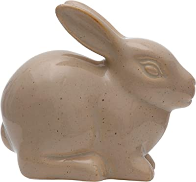 """Creative Co-Op 4-1/2""""L x 2-1/2""""W x 4"""" H Stoneware Rabbit, Brown Reactive Glaze (Each One Will Vary) Figures and Figurines, Multi"""