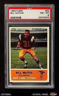 1962 Fleer # 62 Bill Mathis New York Jets (Football Card) PSA 8 - NM/MT Jets Clemson