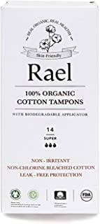 Rael 100% Certified Organic Super Tampons, Non-Chlorine Bleached Tampons with Biodegradable Cardboard Applicator(56 Total) (4 Packs)