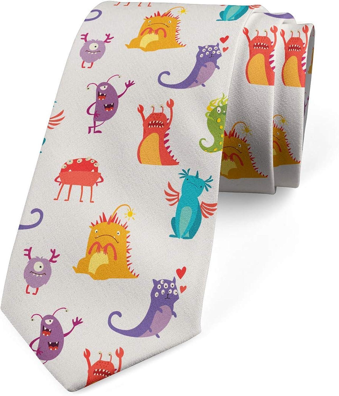 Lunarable Necktie, Colorful Cartoon Creatures, Dress Tie, 3.7