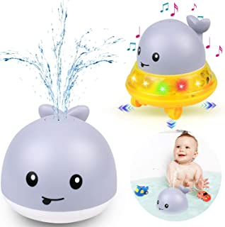 Bath Toys 2 in 1 Bathroom Spray Water Toy Automatic Induction Whale Sprinkler with LED Light Musical Fountain Toy Water Fl...