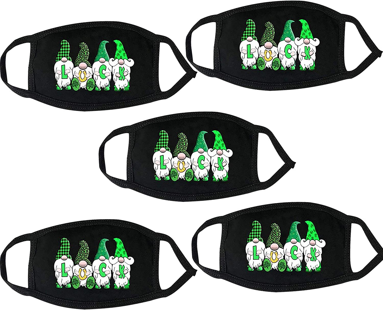 5 Pcs St. Patrick's Day Face_Mask Ranking integrated 1st place Green Adults for Sale special price Shamrock Cute