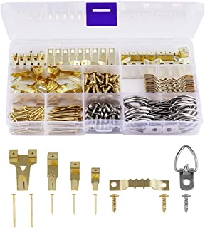 Picture Hangers, Tifanso 230 Pieces Assorted Picture Hanging Kit with Picture Hangers, Hooks, D Ring, Nails, Sawtooth Hangers and Hardware for Frames