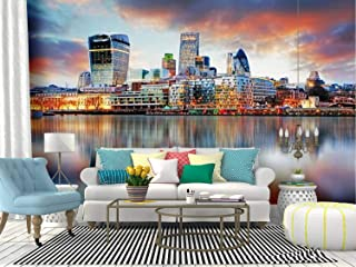 Kanworse London Skyline Skyline at Sunsets and Pictures Canvas Print Wallpaper Wall Mural Self Adhesive Peel & Stick Wallpaper Home Craft Wall Decal Wall Poster Sticker for Living Room