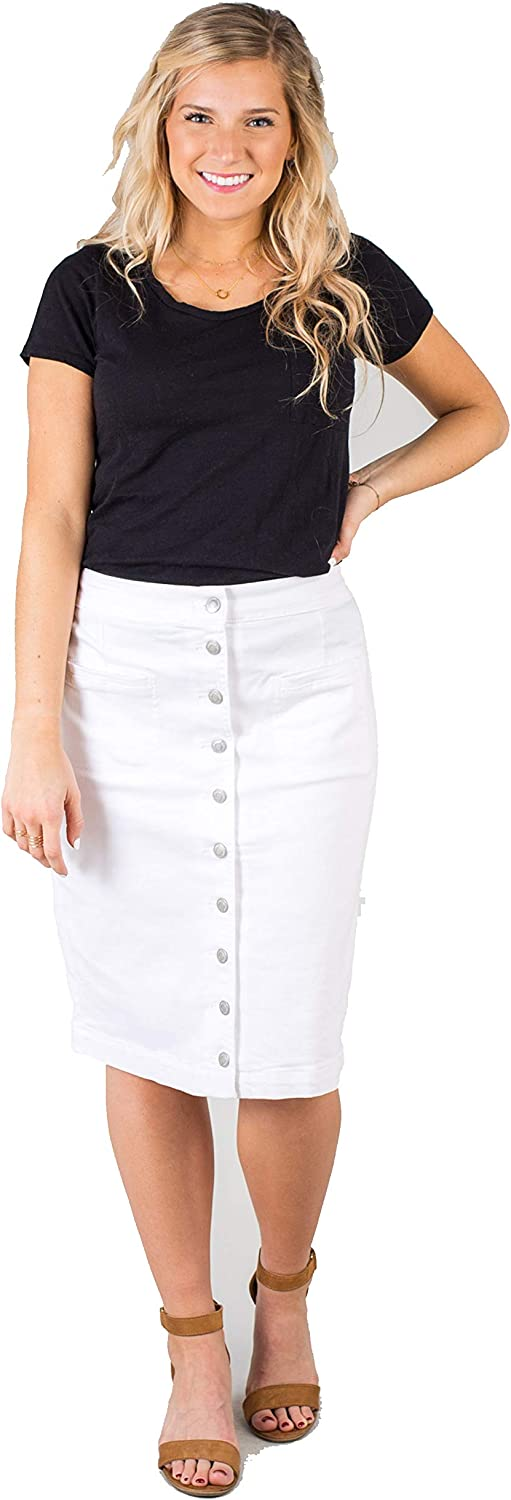 Called To Surf South Shore MID HIGH Waist Knee Length ButtonUP Denim Skirt with Pockets White