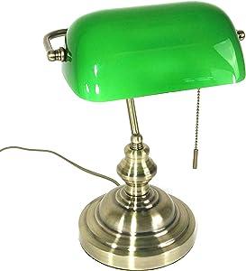 Tischleuchte Bankerslamp mit Zugschalter E27 Bankerlampe Schreibtischleuchte antik messing Schirm grün Arbeitsleuchte Nachtischlampe Tischlampe antik retro Nostalgie
